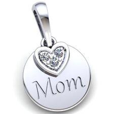 Genuine 0.33ctw Round Cut Diamond Ladies Circle Heart Mom's Pendant 14K Gold