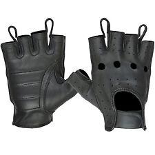 Hugger Men's Fingerless Motorcycle Gloves Summer Riding Open Knuckle Ventilated