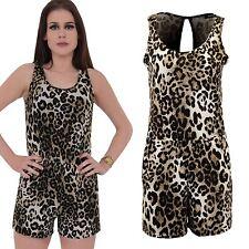Ladies Sleeveless Cut Out Back Leopard Print Elegant Women's Shorts Playsuit