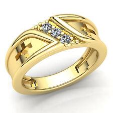 0.75ctw Round Brilliant Cut Diamond Men's Modern 3Stone Wedding Band 18K Gold
