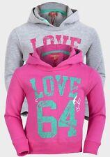Girl's Funky Diva Pink or Grey LOVE 64 Printed Hooded Sweatshirt Cotton Hoodie