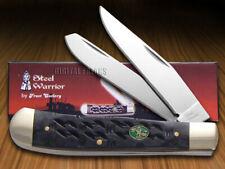 STEEL WARRIOR Gator Back Black Bone Trapper Stainless Pocket Knives Knife