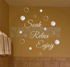 Soak Relax Enjoy Wall Stickers & Bubbles Decals Bathroom Home Art Decor