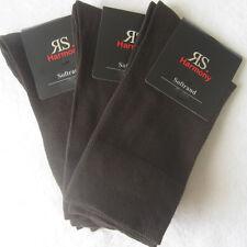 3 Paar Herren Socken ohne Gummi extra bequemer Softrand dunkelbraun 39-46