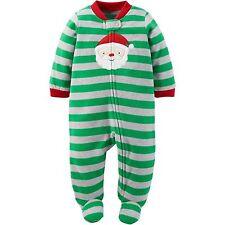 NWT COM Carter's Boy's Newborn 0-3 3-6 6-9 Months Fleece Pajamas Christmas Santa