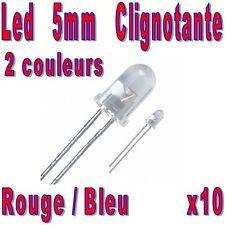 10x Led 5mm Bleu & Rouge clignotantes 7000mcd