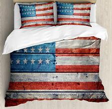 Antique Duvet Cover Set with Pillow Shams National July Festive Print