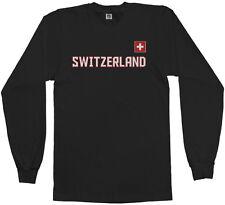 Threadrock Men's Switzerland National Team Long Sleeve T-shirt swiss flag