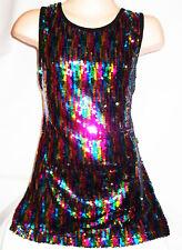 Le ragazze 60 S stile multi colore Sparkling Glitzy Paillettes DISCOTECA DANCE PARTY DRESS TOP