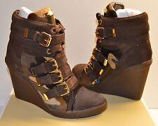 New $325 Michael Kors Lizzie Wedge Sneaker Duffle/Camo Printed Hair Calf Hi Top