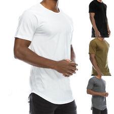 Long Haut T-Shirt Manche Courte Fine Homme Basique Polyester NOIR S/M/L/XL