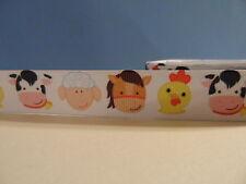 """Grosgrain Ribbon, Farm Animals Heads, Horse Chicken Cow Sheep, 7/8"""""""