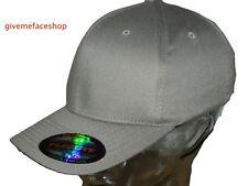 FLEXFIT PLAIN FITTED CAPS HATS, GREY BASEBALL HIP HOP, FLEXI FIT CLASSIC PATENT