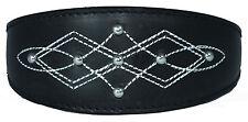 Black Silver Stud Stitch Design Leather Whippet, Greyhound Collar lévriers galgo