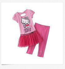 Hello Kitty Girl 4-6X Pink Glitter Tutu Tunic Top Capri Legging Outfit Clothes