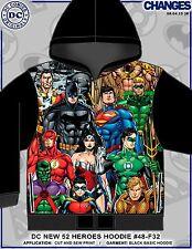 DC COMICS 52 HEROES FLASH SUPERMAN AQUA MAN BATMAN  SUBLIMATION ZIP UP HOODIE
