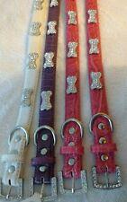 "Designer Mirage Diamante bone stud dog collar medium 19"" LONG faux leather"