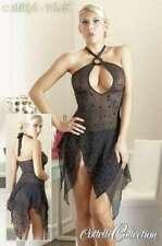 S-Sexy transparentes Negligé Zipfel Kleid mit Glanz Flockprint Kreisen schwarz