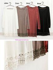 Japan Crochet Lace Hem Soft Knit Slip Dress! S M L