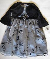 Silver with Black Flower Flocking Formal Wedding Dress w/ Shrug Size 2T, 3T NWT