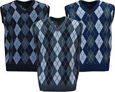 Mens Argyle V Neck Sleeveless Sweater Jumper Tank Top Jersey Golf Casual M - XXL