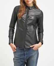 Leather Shirt for Women Black Formal Jacket Size S M L XL XXL 3XL Customized