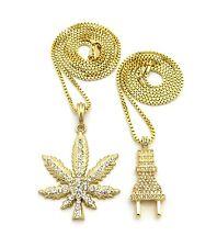 Gold Marijuana Weed Cannabis Plug Pendants Charms Chain Necklace Jewelry Set