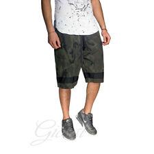 Pantalone Tuta Uomo Corto Mimetico Elastico Molla Laccetti Bermuda Verde Casu...