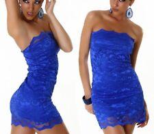Sexy Miss señora bandeau mini vestido punta dress S/M 34/36 M/L 36/38 azul Nuevo