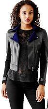 GUESS $158 Faux Leather Velvet Bonded Jacket Black Blue S 4 5