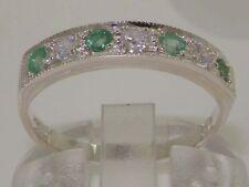9K White Gold Womens 0.18ct Diamond & Emerald Ring