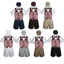 Boys Toddler Formal Brown Vest Bow Tie White Khaki Navy Gray Hat 5pc Set sz S-4T