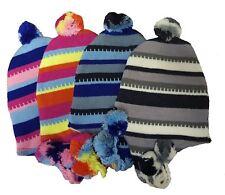Unisex Striped Coloured Peruvian Winter Hats with Tassles Peru Headwear
