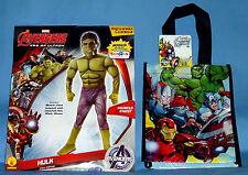 AVENGERS HULK COSTUME BOYS M-8-10;L-12-14;MUSCLES;SUPER HERO;TRICK OR TREAT BAG