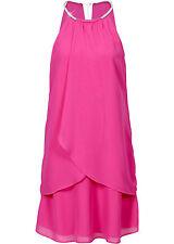 Chiffon Kleid mit Strass Collier fuchsia Partykleid Cocktailkleid XS S M L 637