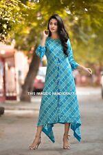 Bollywood Kurta Kurti Ikat Print Women Boho Dress Top Tunic Stylish Indian Dress