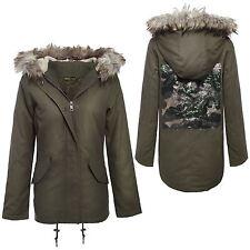 New Womens Multi Sequin Pattern Fur Hood Oversized Khaki Parka Jackets 8-16