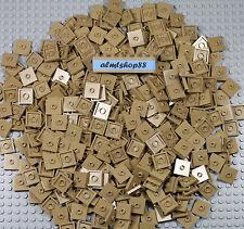 Lego - 2x2 Dark Tan Tiles w/ Groove & Center Stud Plates Jumper Base Bulk Lot