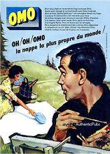 PUBLICITE LESSIVE OMO NAPPE PIQUE NIQUE PEINTRE PEINTURE SIGNE COURONNE 1960 AD
