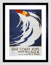 Onda de surf ferroviario LNER de Viaje Reino Unido Vintage Retro Anuncio de impresión arte enmarcado B12X1611