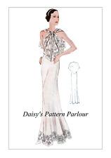 1930 Vintage Sewing Pattern Long Evening Gown Dress Eclair Coupe Paris 1930s 30s