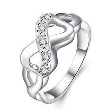 Silber Infinity Ring Unendlichkeit Silber beschichtet Strasssteine ewige Liebe