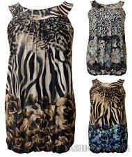 NUOVA linea donna PLUS SIZE FLOREALE Leopardo Animal Print Tunica bolla Tunica Top 14-28