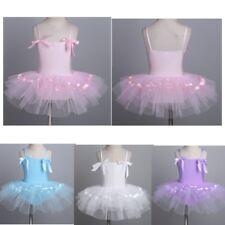 Girls Bowtie Straps Ballet Leotard Tutu Dress Gymnastics Dance Skirt Costume