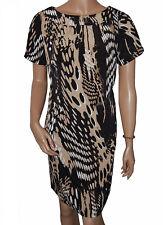 C013 - Ladies Black & Brown Round Neck Dress - UK 14 - 16