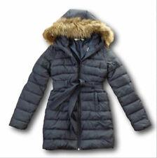 Ladies Hollister Navy Scripps Pier Parka Puffer Hooded Fur Coat Jacket XS S New