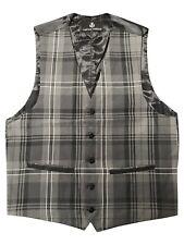Mens Grey Granite Tartan Waistcoat 38 - 50