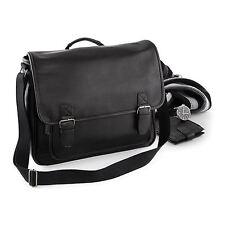 Black Tan Briefcase Faux Synthetic Leather Bag Business Work Messenger Satchel