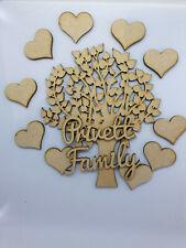Árbol familiar Mdf Set Kit con árbol elección del apellido corazones 9 árbol de redacción.