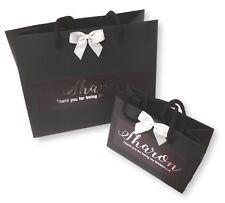 PERSONALISED BLACK GIFT BAG SILVER FOIL PRINT THANK YOU WEDDING GIFT BRIDESMAID
